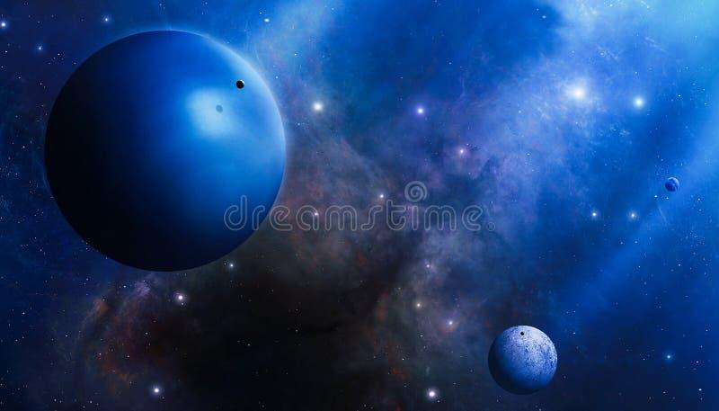 Mistério azul profundo do espaço ilustração royalty free