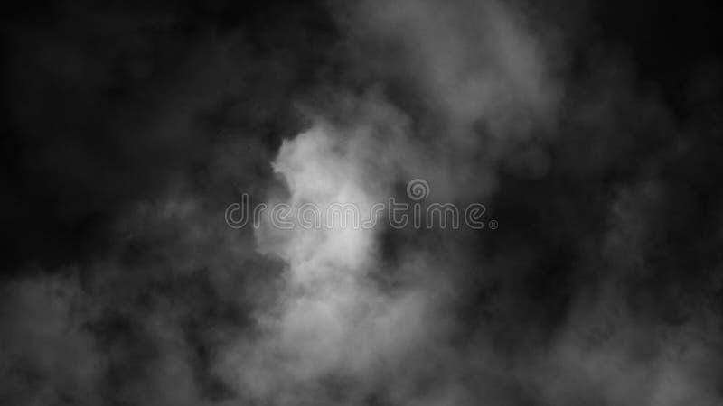 Mist en misteffect op zwarte achtergrond Rooktextuur stock afbeelding