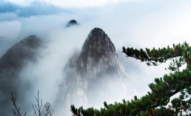 Mist för Huangshan berg royaltyfria foton