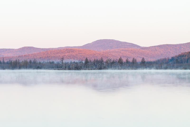 Mist of lake in the early morning royalty free stock image