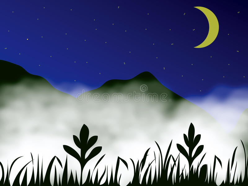 Mist in mountain vector illustration
