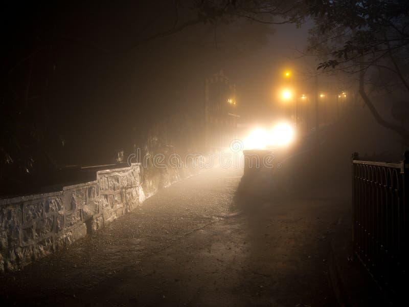 Mist Night in Hong Kong. Light Night Fear Dark Mystery Concept stock photography
