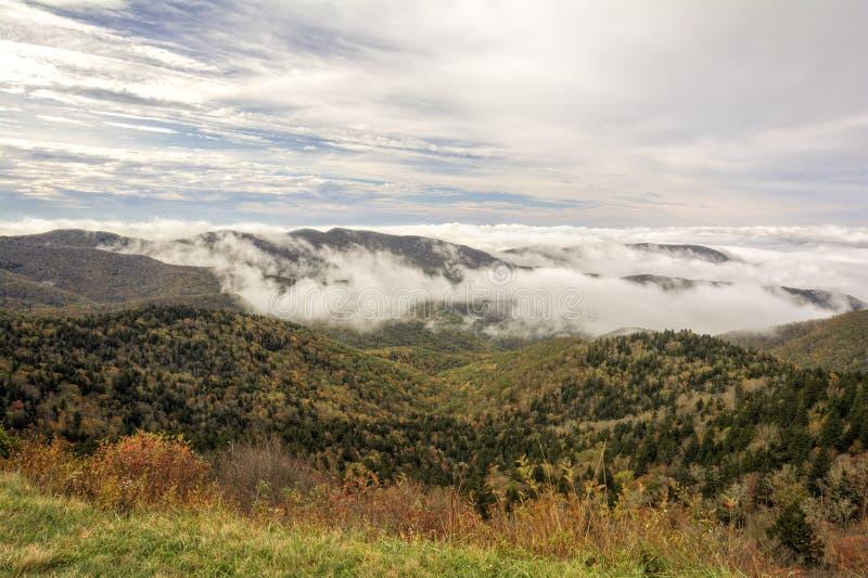 Mist op Blauw Ridge Parkway royalty-vrije stock foto's
