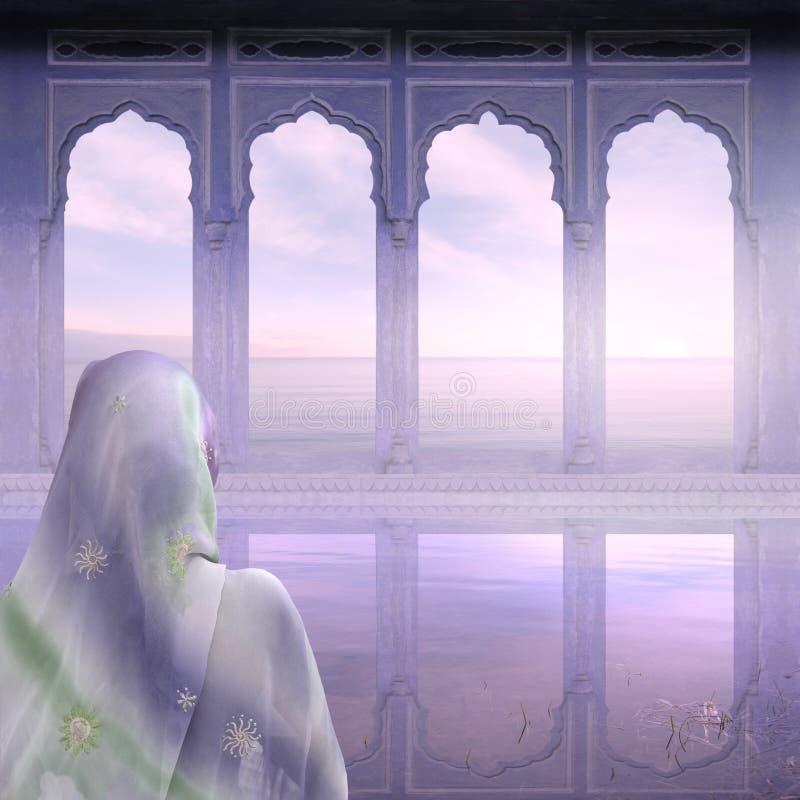 Mist op de Ganges stock afbeelding