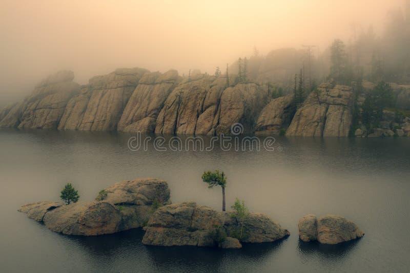 Mist op Sylvan Lake, Zuid-Dakota royalty-vrije stock afbeelding