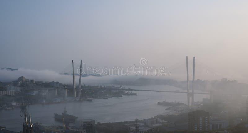 Mist over cityscape stock foto's