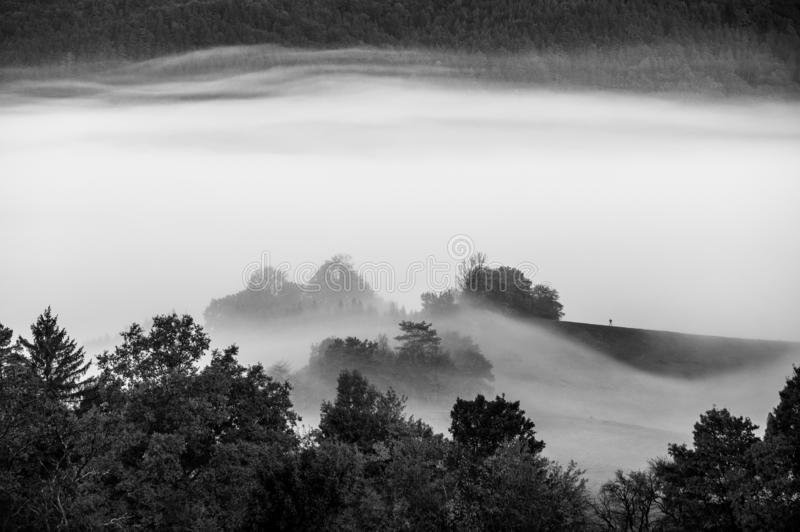Mist over the meadow, autumn morning landscape, black and white royalty free stock images