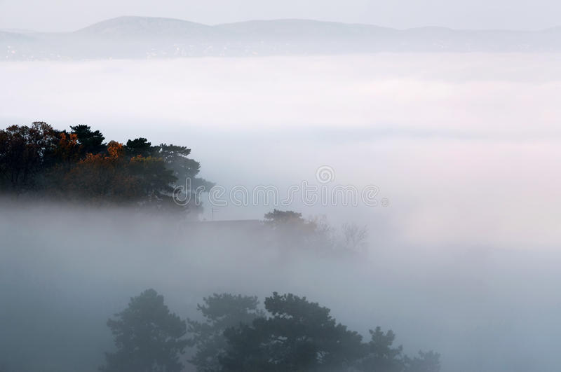 Mist over Meer Balaton stock foto