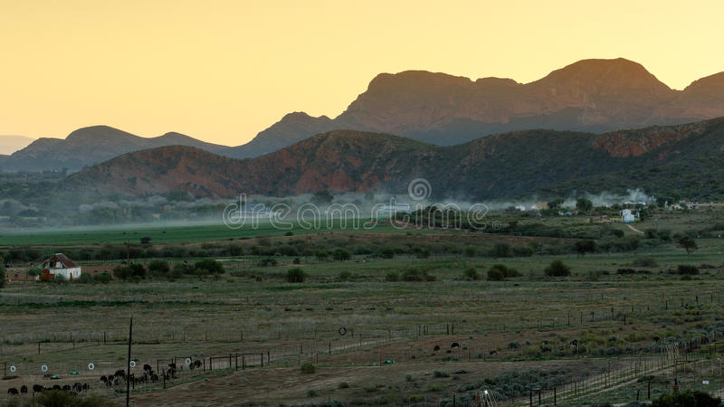 Mist over Middle Plaas - De Rust royalty free stock image