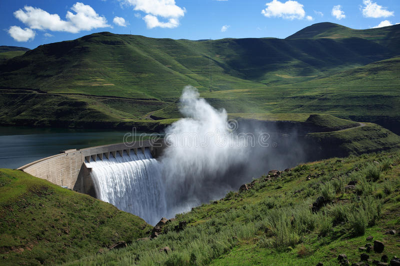 Mist rising above the Katse dam wall in Lesotho stock photography