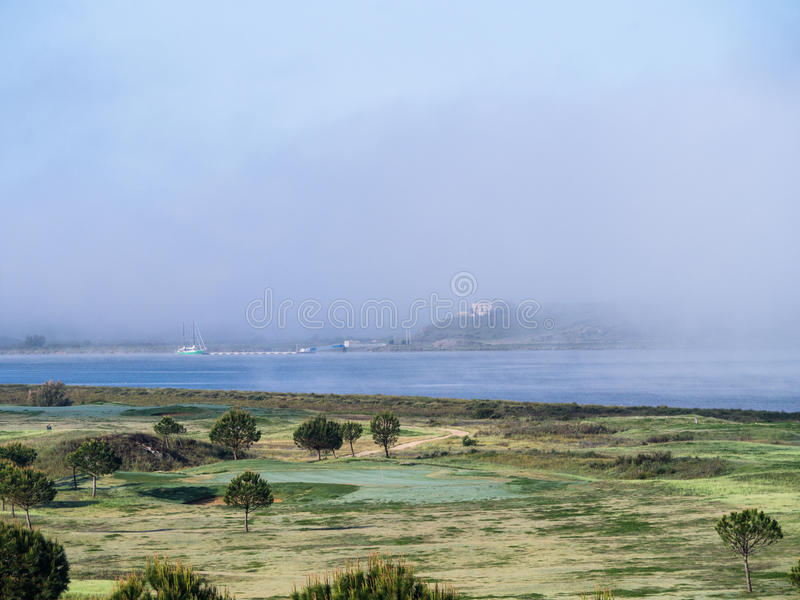 Mist rising over river royalty free stock image