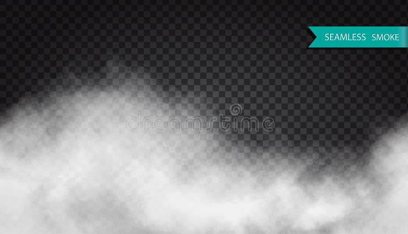 Mist of rook naadloos transparant speciaal effect Witte vector van de troebelheidsmist of smog patroonvector royalty-vrije illustratie