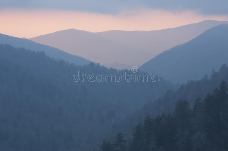 Sunset at Oconoluftee Overlook Sunset at Great Smoky Mountains National Park. stock photography