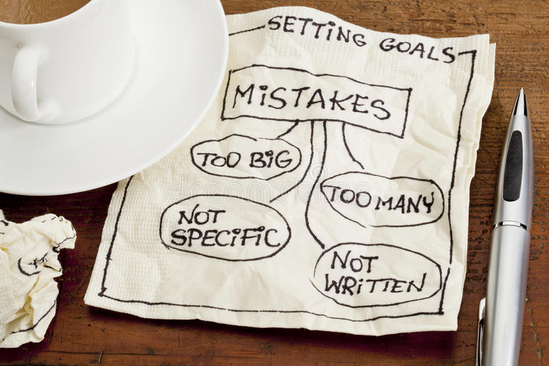 Mistakes In Setting Goals On Napkin Stock Image