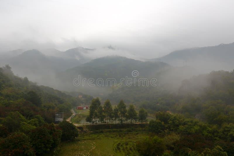 Mistdorp in de vallei van tianzhushan (tianzhuberg) stock foto