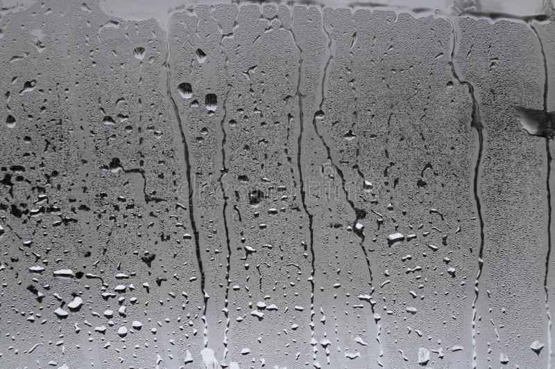 Misted glass in the cabin of the bus. royalty free stock photo