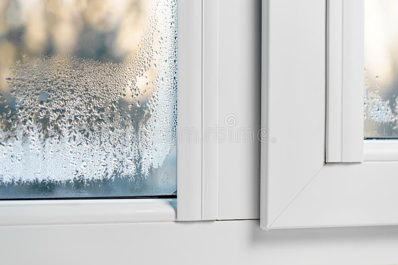 Misted Windows condensation mist on double glazed windows.  royalty free stock photography