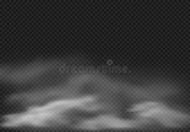 Misteffect De rook betrekt, bewolkte mist en realistische rokerige wolk die op transparante vectorillustratie wordt geïsoleerd al royalty-vrije illustratie