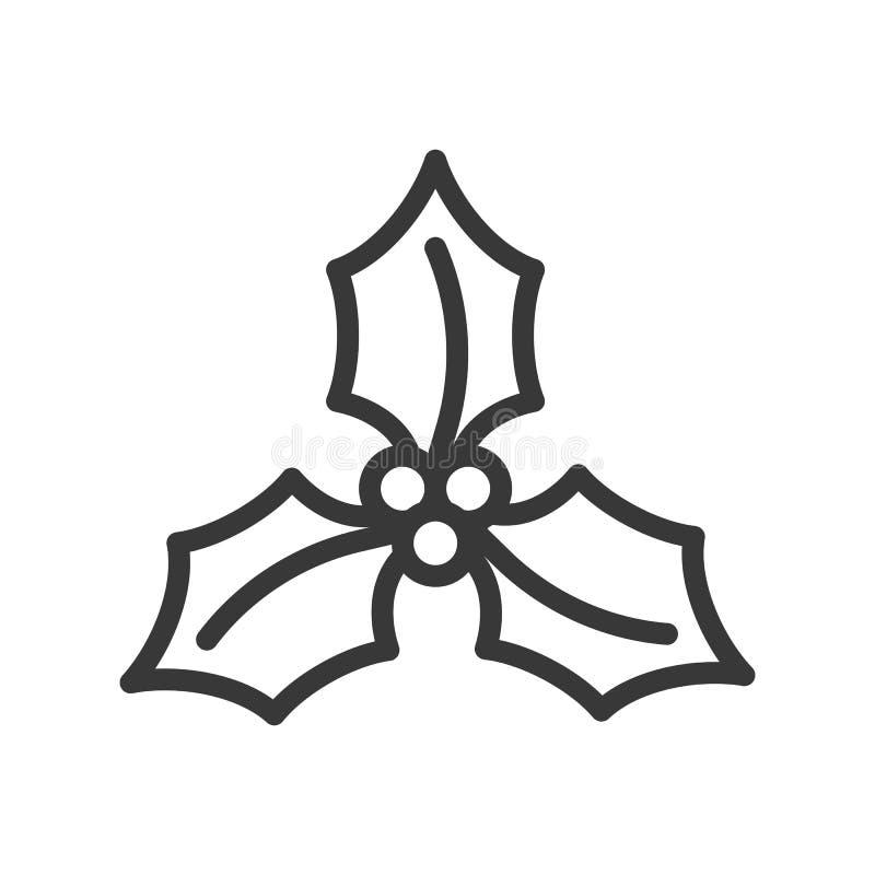 Mistel temauppsättning för glad jul, redigerbar slaglängdpi för översikt vektor illustrationer