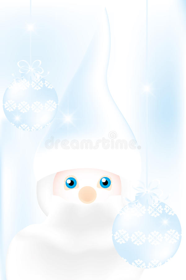 Mister Frost. Beautiful illustration in cold-blue with man and Christmas baubles on frosty background vector illustration