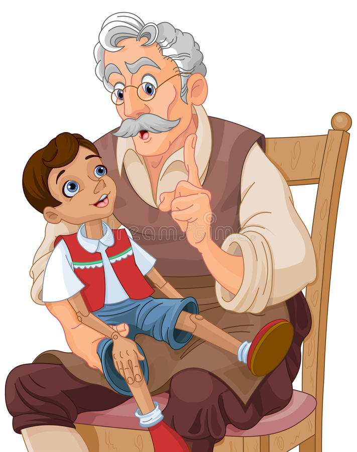 Mister Geppetto and Pinocchio stock illustration