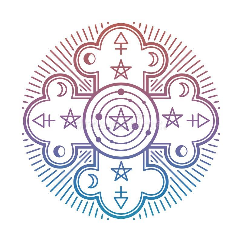 Misterio brillante, símbolo esotérico oculto aislado en el fondo blanco libre illustration