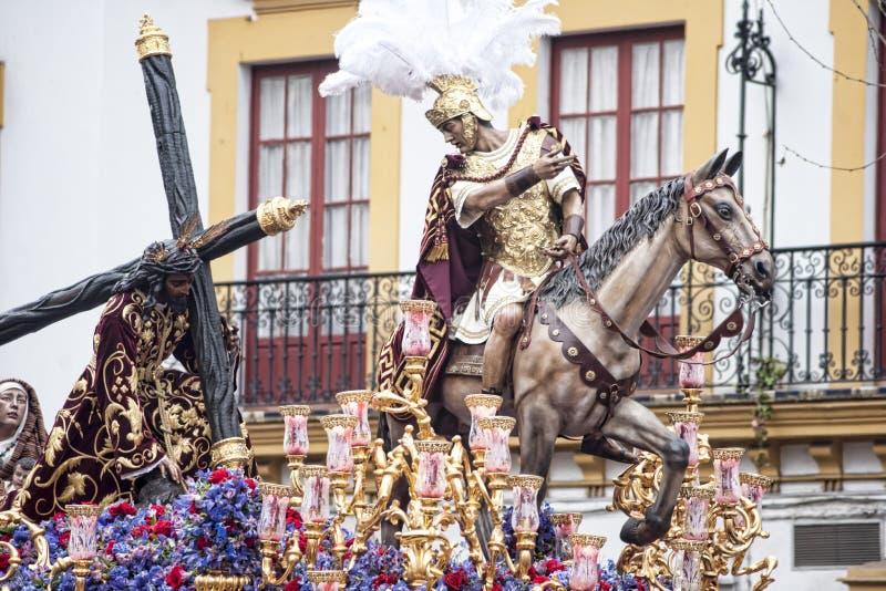Misterio del paso de la fraternidad de la esperanza de Triana, Pascua en Sevilla imagen de archivo libre de regalías