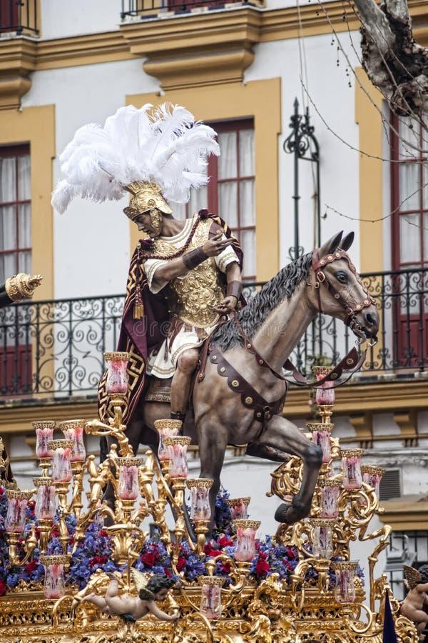 Misterio del paso de la fraternidad de la esperanza de Triana, Pascua en Sevilla fotografía de archivo libre de regalías