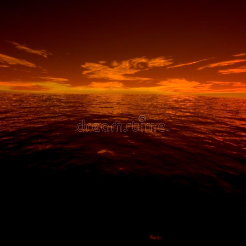 Misterio grande de la puesta del sol hermosa del océano fotos de archivo libres de regalías