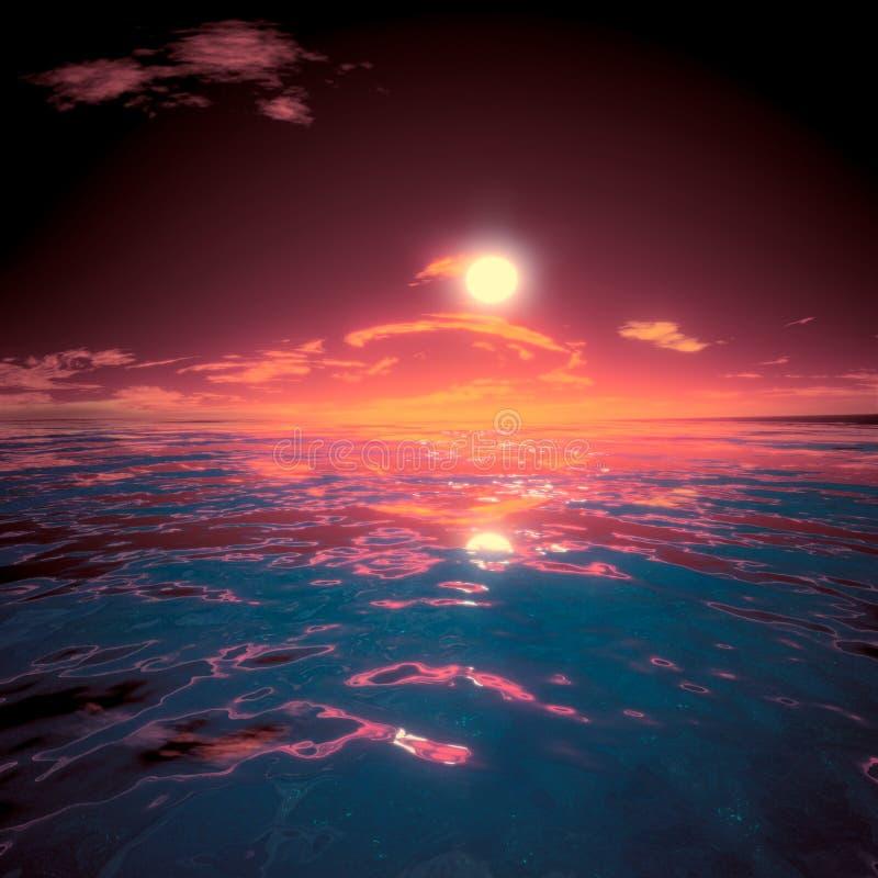 Misterio grande de la puesta del sol hermosa del Sae fotos de archivo libres de regalías
