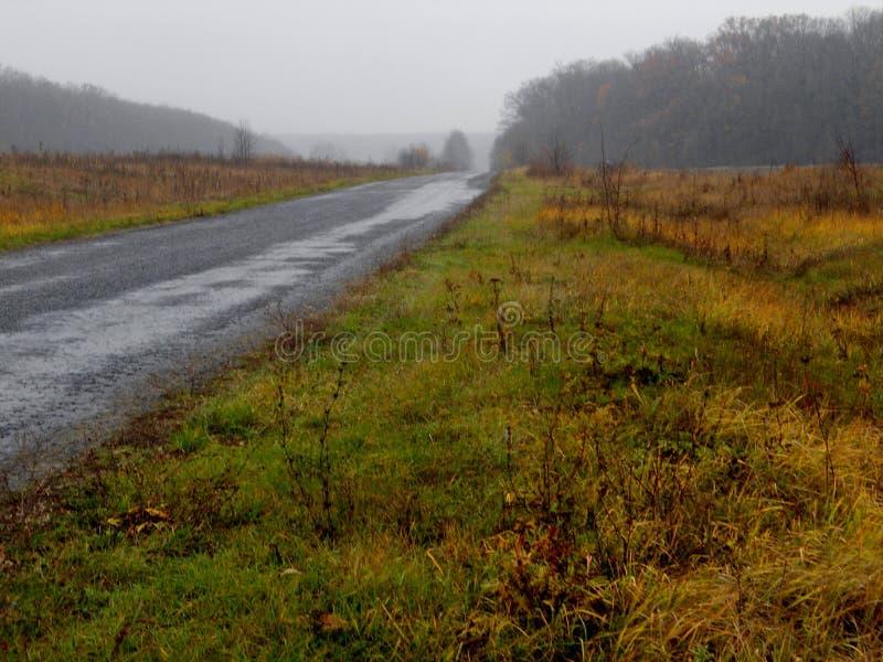 Mistig landschap, weg aan horizon, de herfst, royalty-vrije stock afbeelding