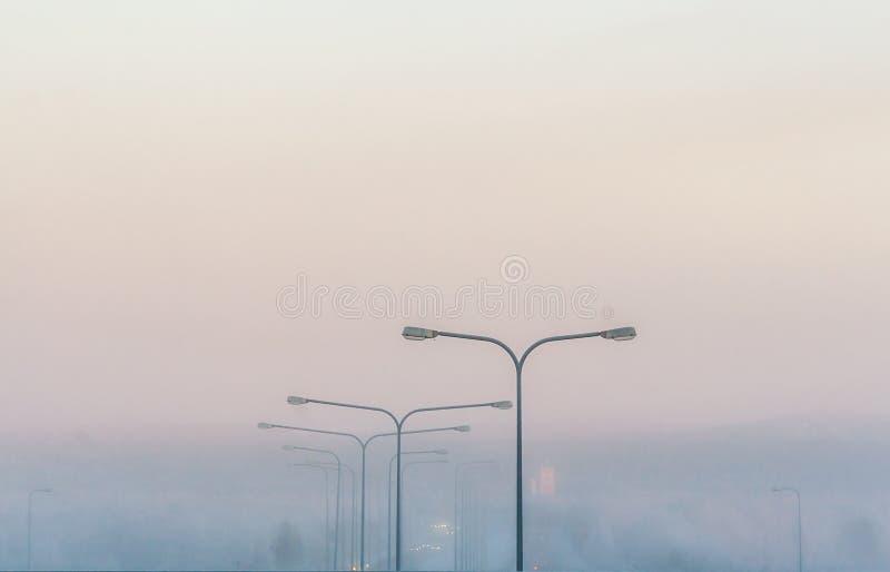 Mistige de winterscène stock afbeelding
