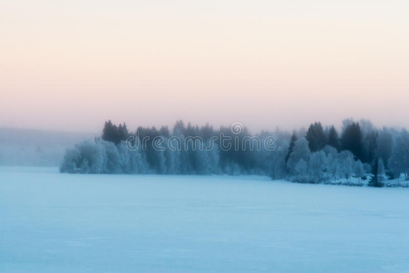 Mistige de winterscène royalty-vrije stock foto's