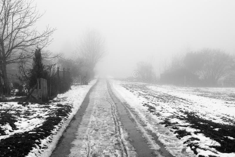 Mistige landelijke weg stock afbeelding