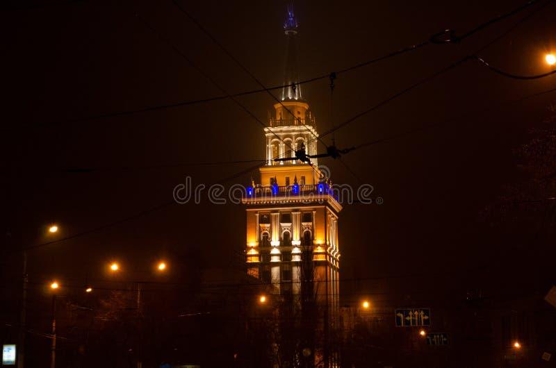 Mistige nacht in Voronezh stock foto