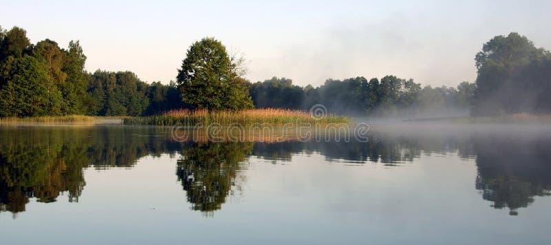 Mistige ochtend door het meer, V royalty-vrije stock foto's