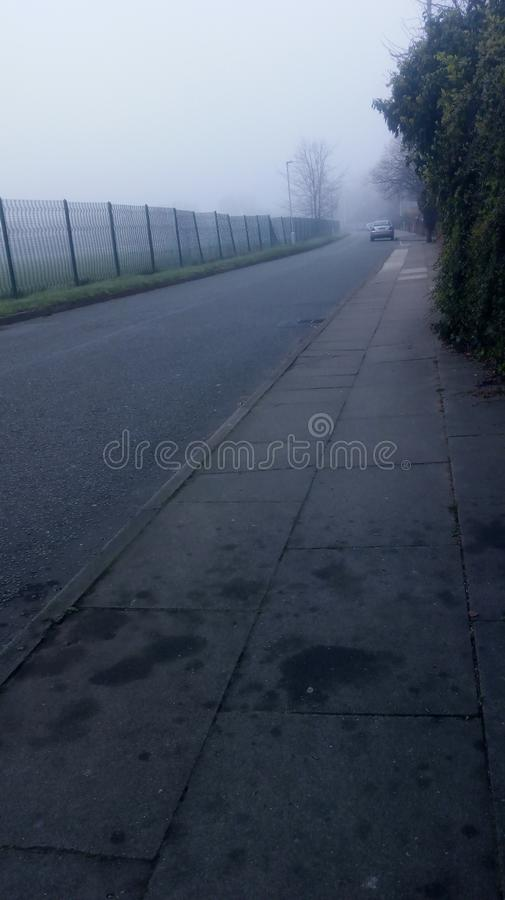 Mistige ochtend in Liverpool stock foto's