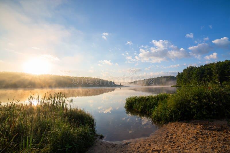 Mistige oever van het meer bij zonsopgang met lang gras en zand in voorgrond royalty-vrije stock afbeeldingen