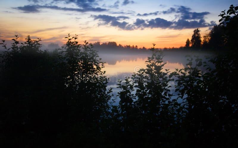 Mistige zonsondergang stock foto's