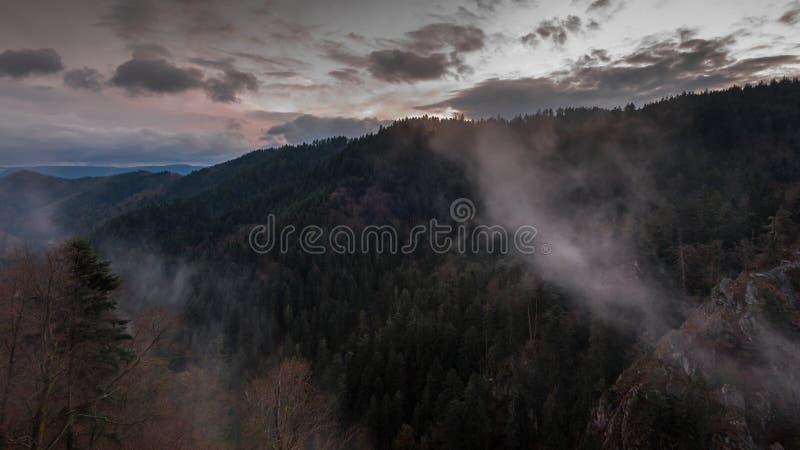 Mistige zonsondergang royalty-vrije stock afbeeldingen