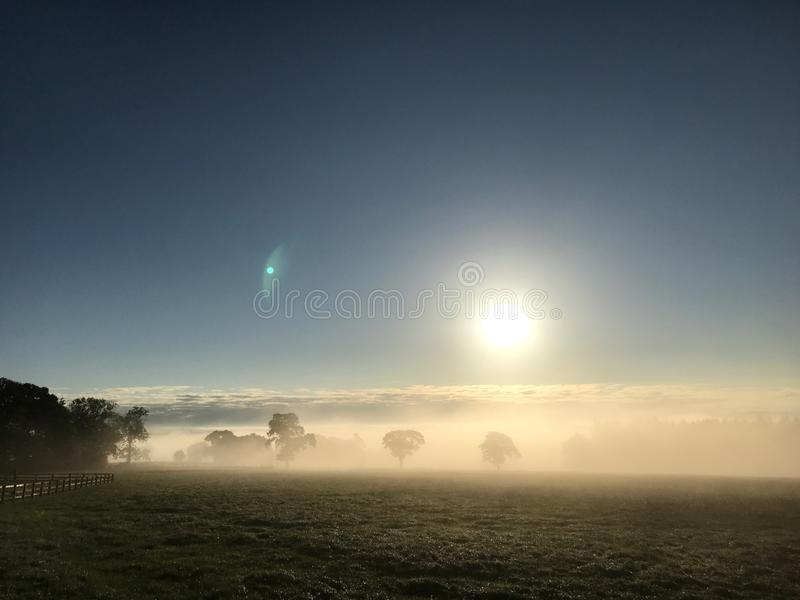 Mistige zonsondergang - mistige gebieden royalty-vrije stock foto