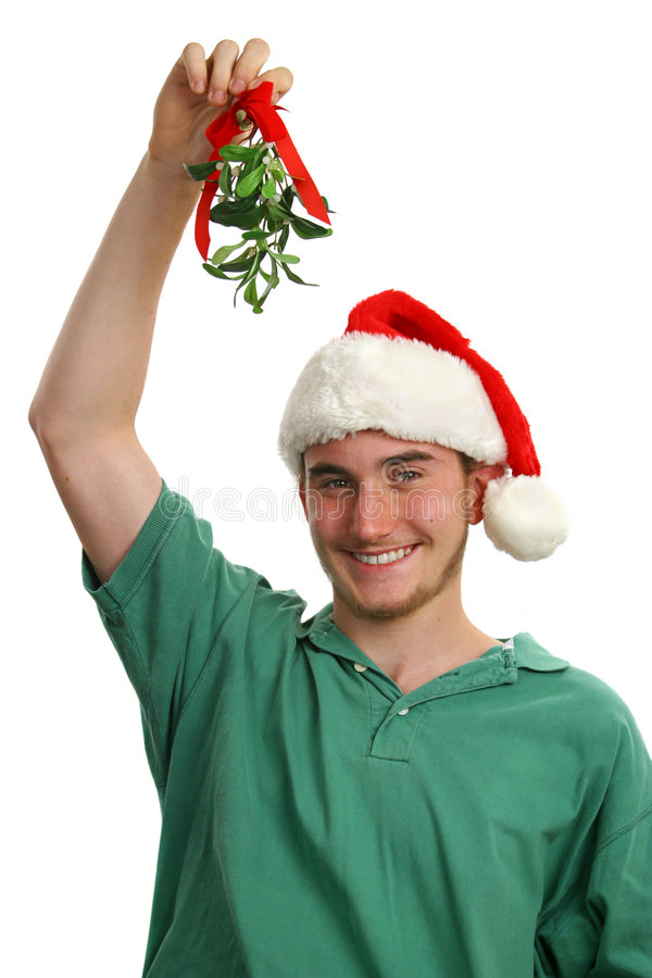 mistletoe удерживания предназначенный для подростков стоковое изображение