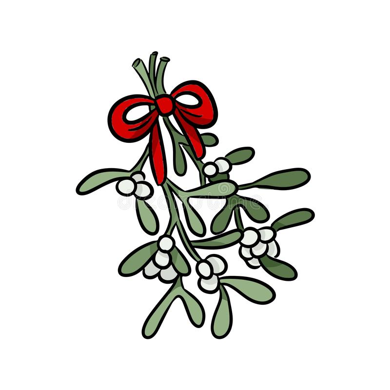 Mistletoe branch hand drawn colorful sticker doodle royalty free illustration