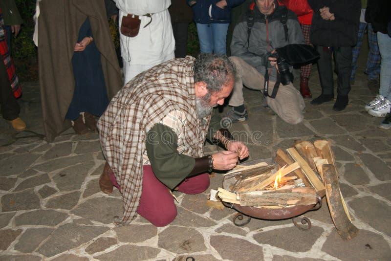 Mistletoe Festival 7/12/2019 Marcallo con Casone - Italia fotografie stock libere da diritti
