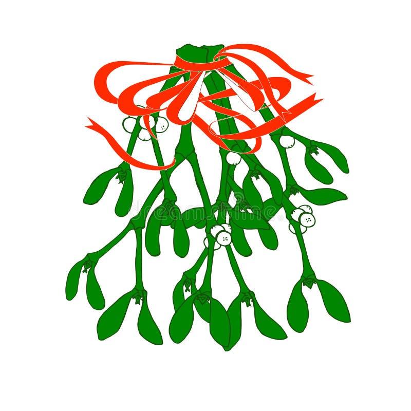 mistletoe Illustrazione variopinta di vettore di attaccatura dei ramoscelli verdi del vischio con l'arco rosso royalty illustrazione gratis