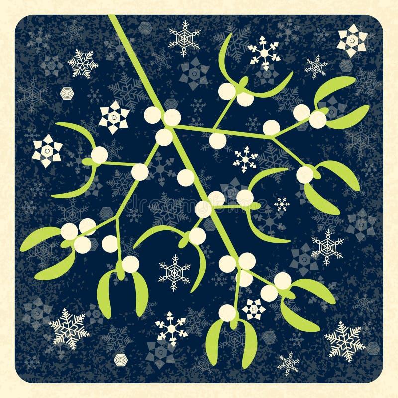 mistletoe Ilustración del vector Rama del muérdago con las bayas La Navidad del Año Nuevo Símbolo tradicional Ingenio retro del f stock de ilustración