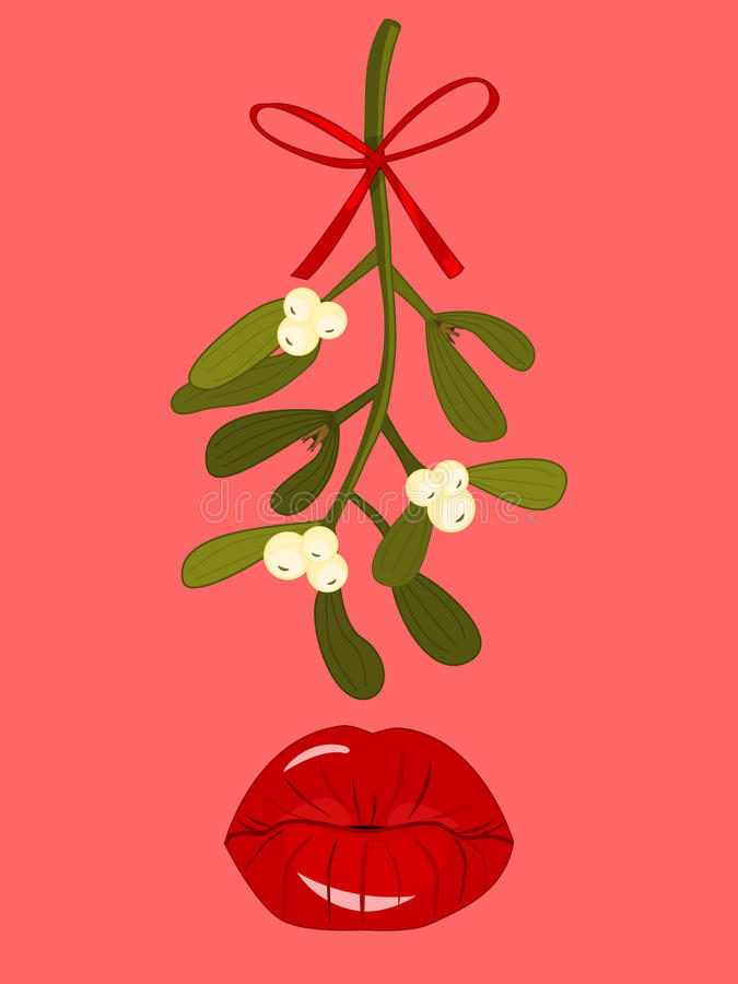 Mistletoe and Kissing Lips. Red Kissing Lips beneath Hanging Mistletoe royalty free illustration