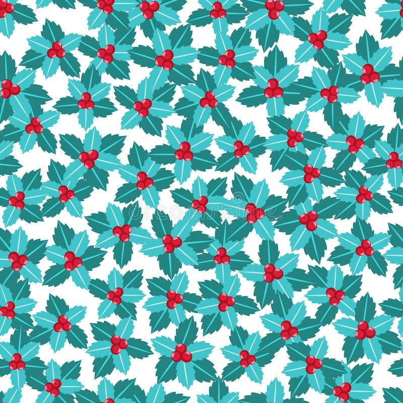 Mistletoe with red berries seamless pattern. Merry Christmas. Vector illustration isolated on white background. royalty free illustration