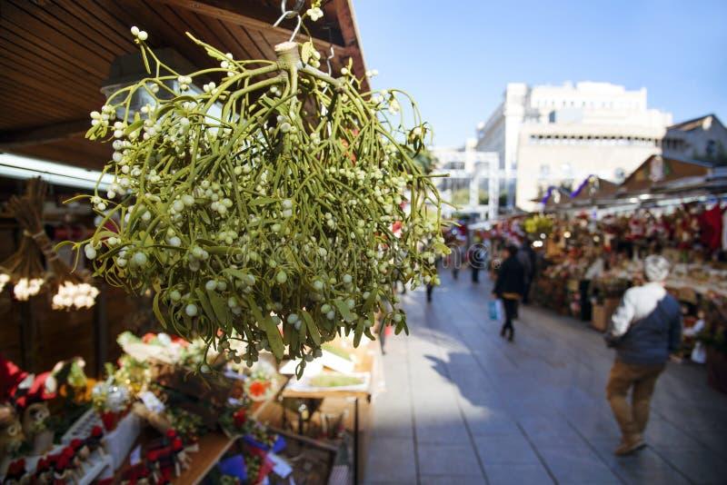 Mistletoe on sale in Barcelona, Spain. Closeup of a bunch of mistletoe on sale in a stall in a christmas market in Barcleona, Spain royalty free stock photo