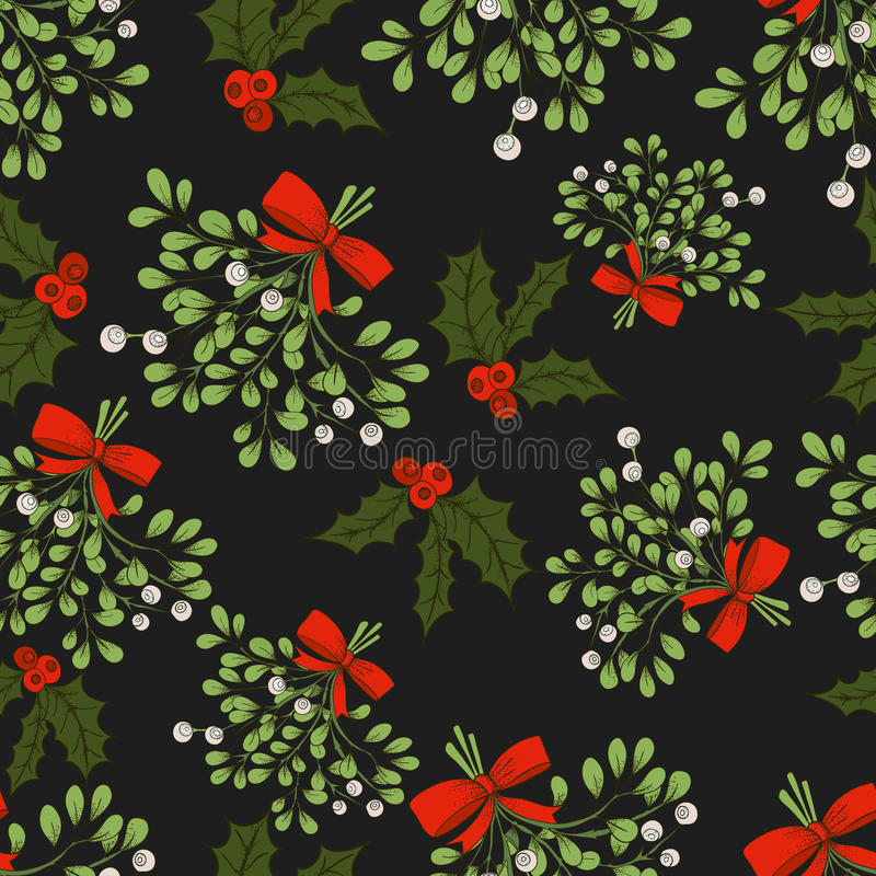 Mistletoe seamless pattern. Vector Christmas seamless pattern with branches of mistletoe. For fabric, wrapping paper, print and web projects. Greeting card royalty free illustration